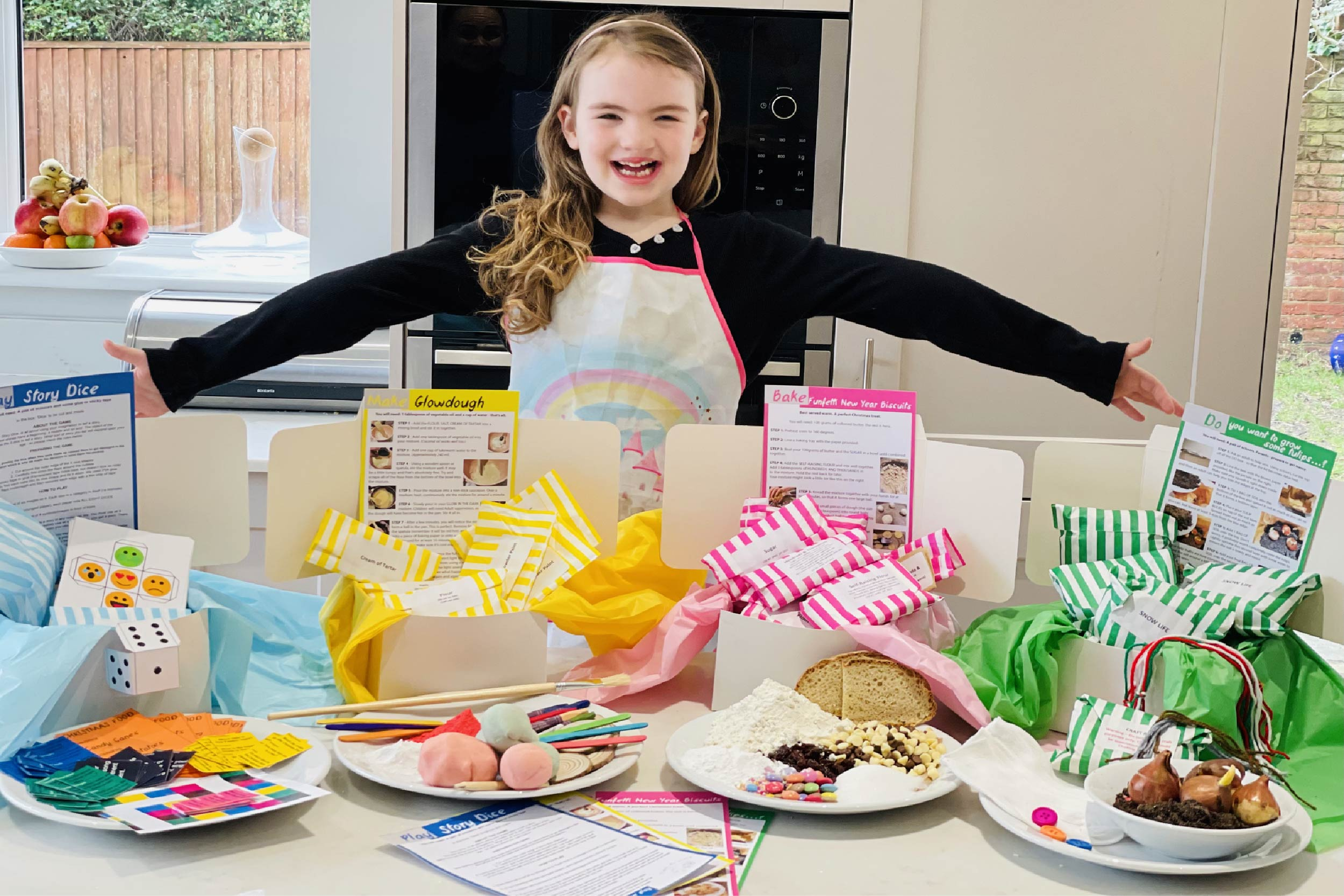 Family Presents. Play. Make. Bake. Do. 4 boxes, delivered to your door each month.