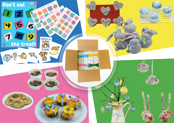 Inside a Family Presents Box. Play, make, bake and do. 4 boxes every month.